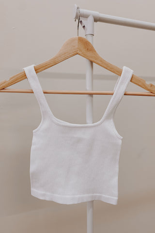 Ribbed Tank Bra | White