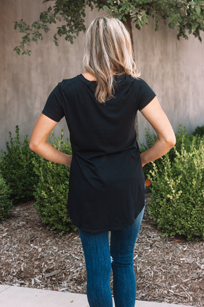 Black Scoop Long Tee