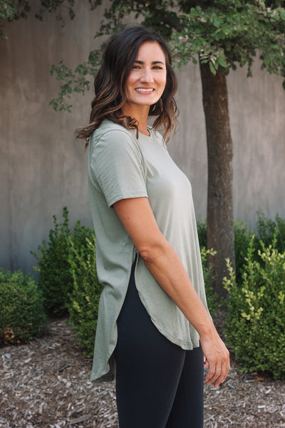 Olive Scoop Long Tee