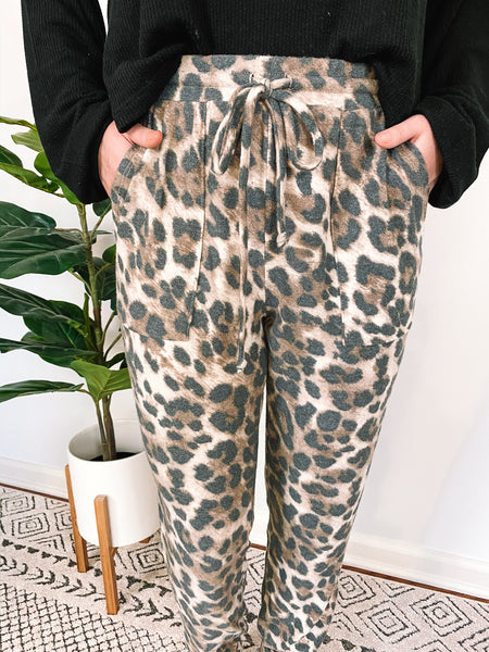 Brushed Knit Leopard Joggers