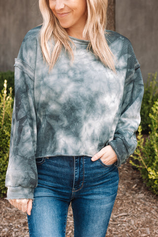 Tie Dye Raw Crop Sweatshirt