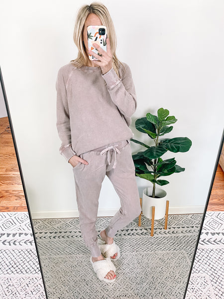 Mineral Wash Joggers / Dusty Pink