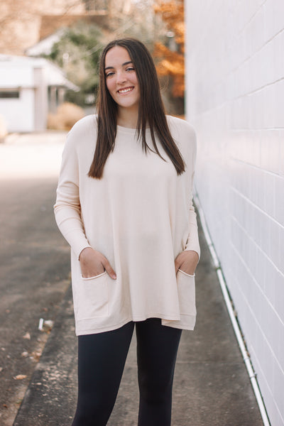 Cream Pocket Sweater