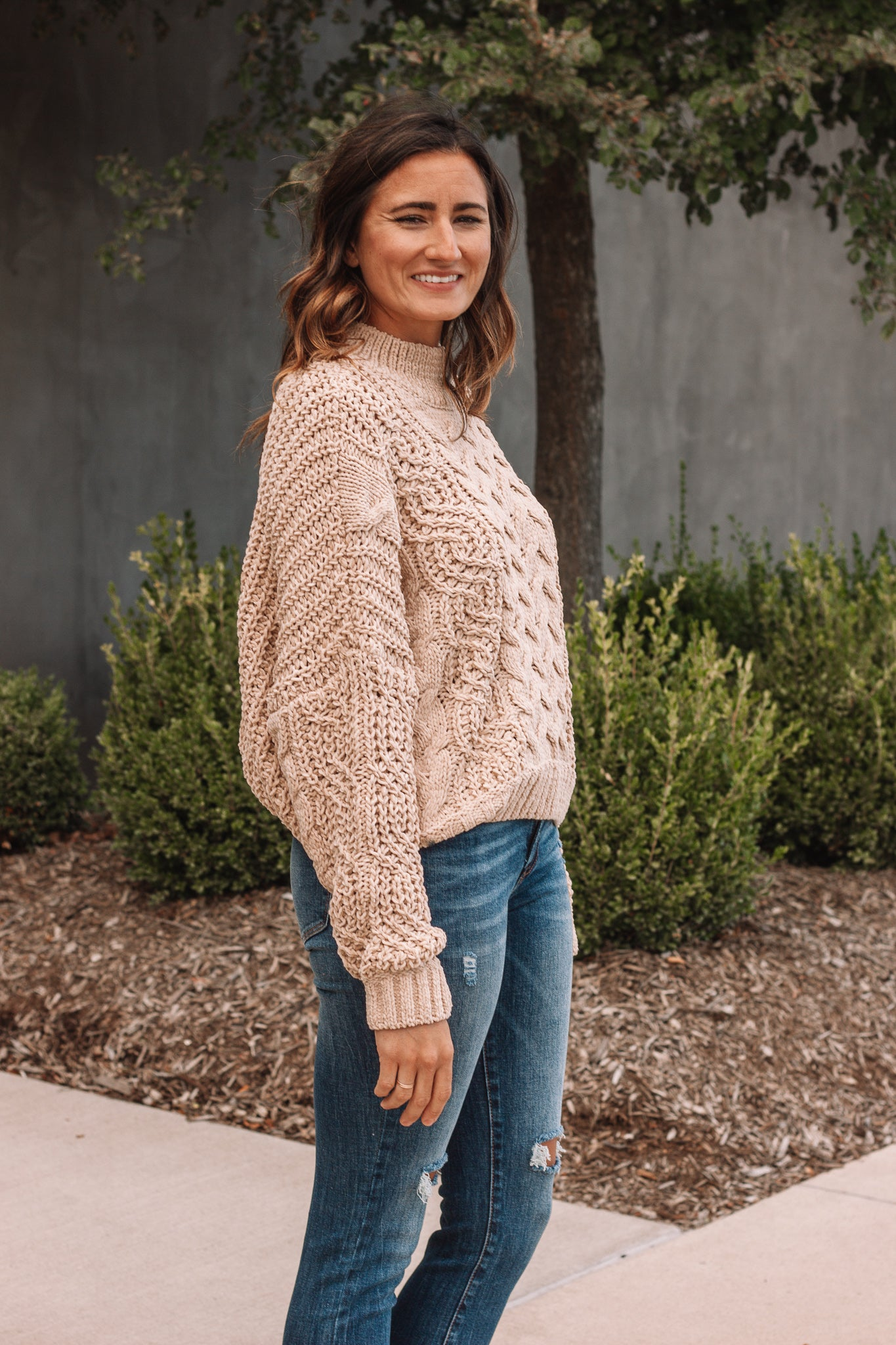 Light Camel Cropped Sweater