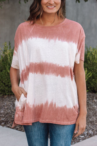 Red Tie Dye Pocket Tee