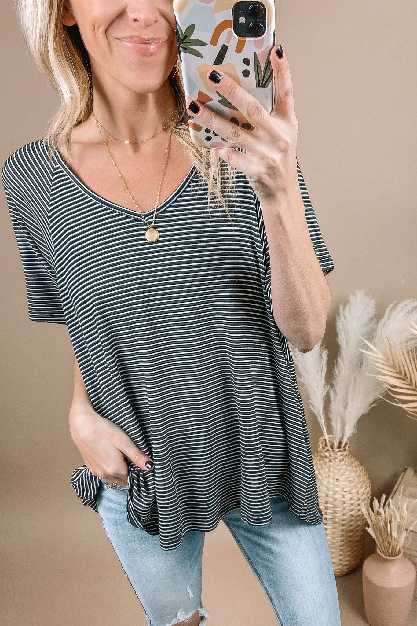Black Swing Striped Tee
