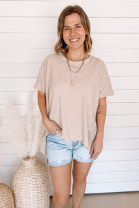 Taupe High Low Top