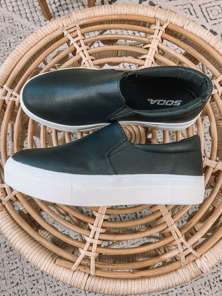 Black Leather Slip On Sneakers