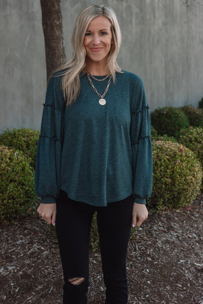 Teal Bubble Sleeve Top