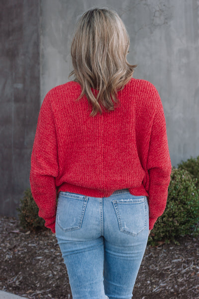Red Chenille Cropped Sweater