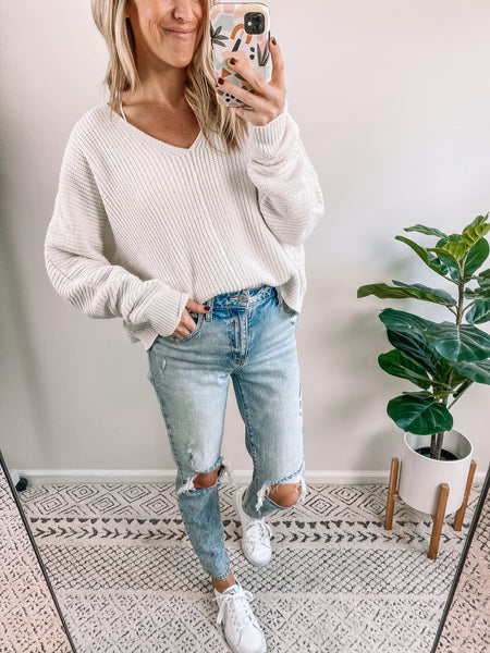 Cream Chenille Cropped Sweater