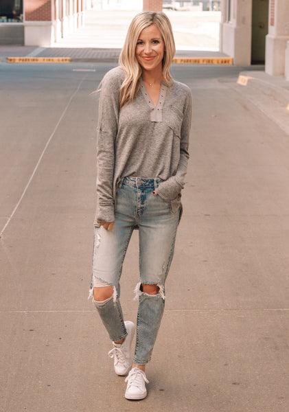 Grey Lace Up Tee
