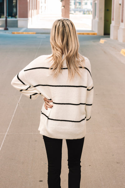 White Striped Sweater