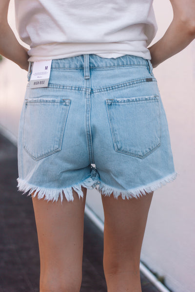 Light Wash Frayed Jean Shorts