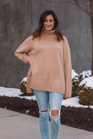 Camel Turtleneck Sweater