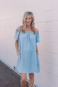 Chambray Off the Shoulder Dress | Final Sale