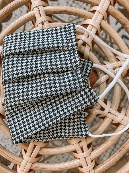 Black Houndstooth Face Mask