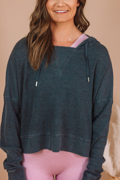 Charcoal Waffle Pullover | Small-3 XL