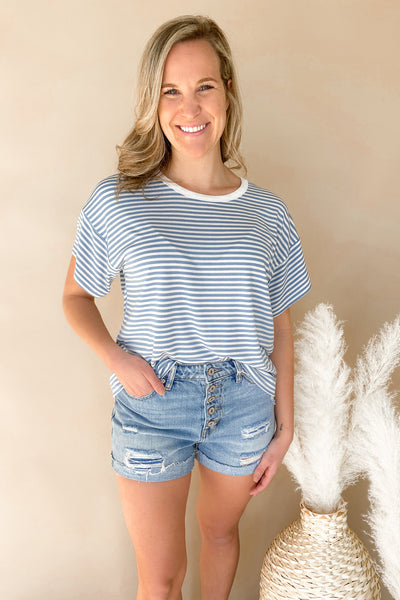 Blue Striped Comfy Tee
