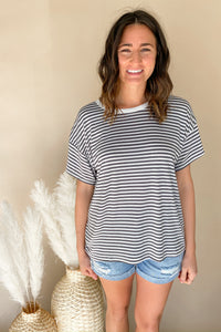 Black Striped Comfy Tee