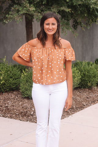 Polka Dot Off the Shoulder Crop