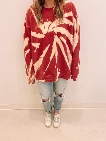 Red Tie Dye Sweatshirt