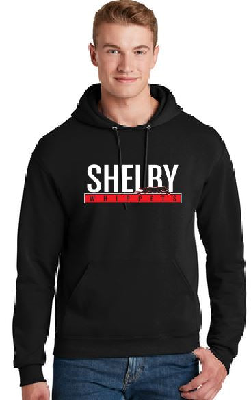 Shelby Whippet White and Red Hoodie