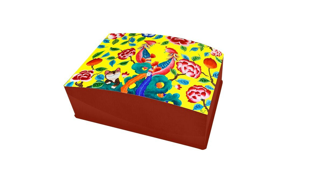 Lacquered Business Card box-Yellow Phoenix (red)