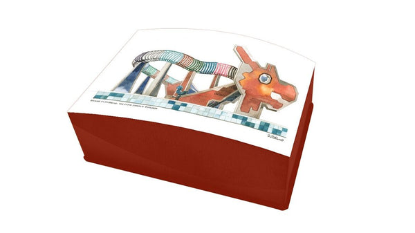 Lacquered Business Card box-Dragon Playround (red)