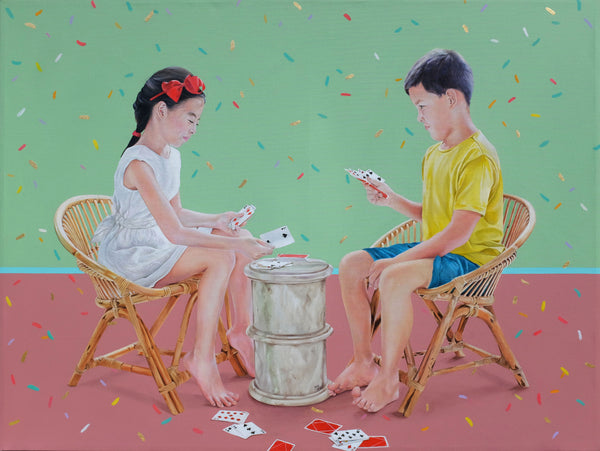 Print art, two children playing Chor Dai Di