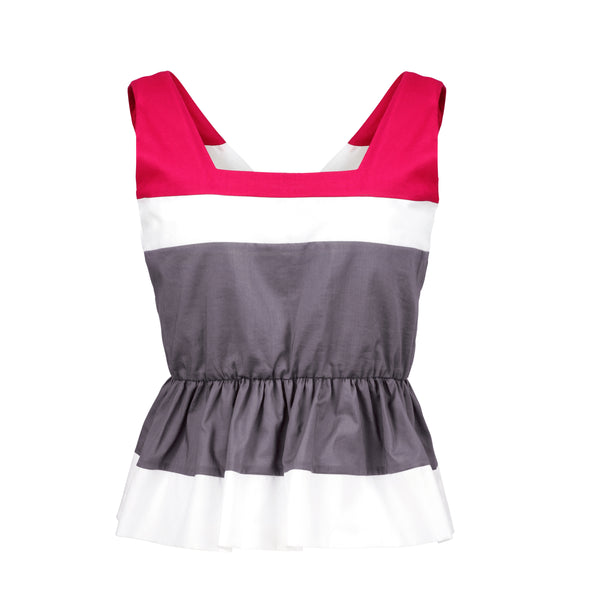 red, white and gray sleeveless, v-neck top, organic cotton and exclusive design