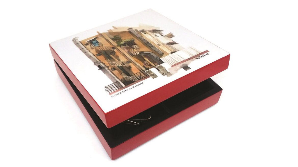 Lacquered Square Box-Joo Chiat (red)