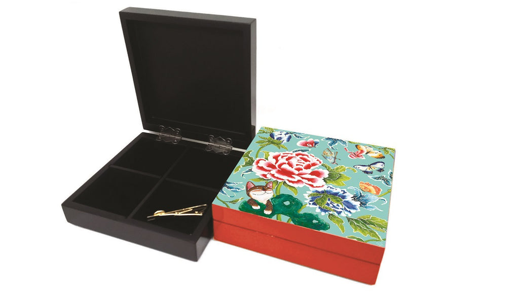 Lacquered Square Box-Love's Butterflies in turquoise (red)