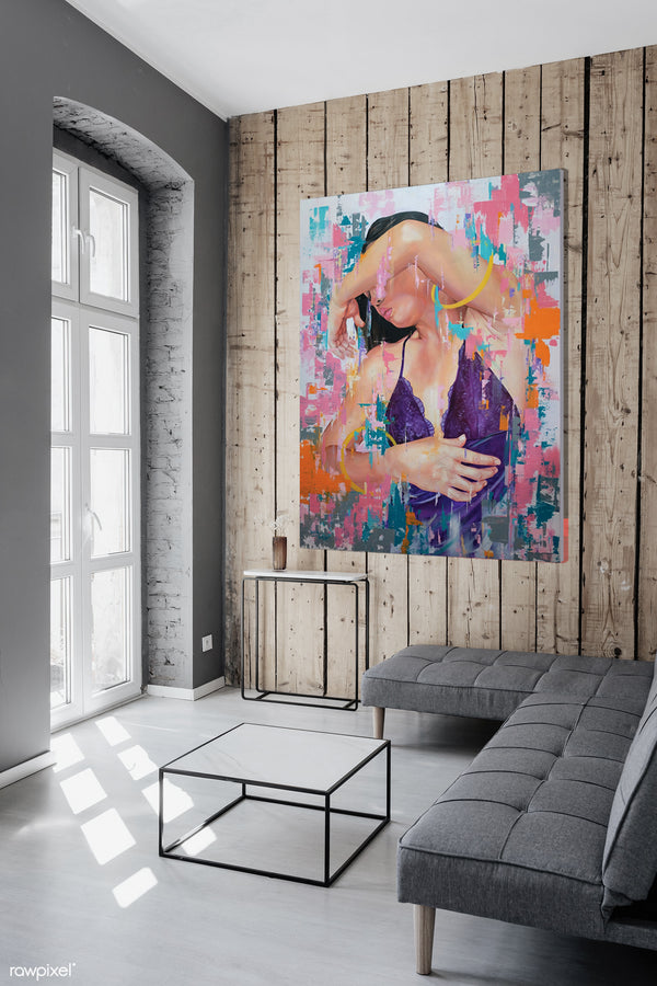 stay around, abstract contemporary artwork print art in a living room