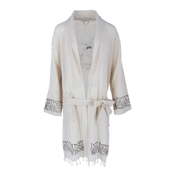 unique traditional print cotton and linen bathrobe front