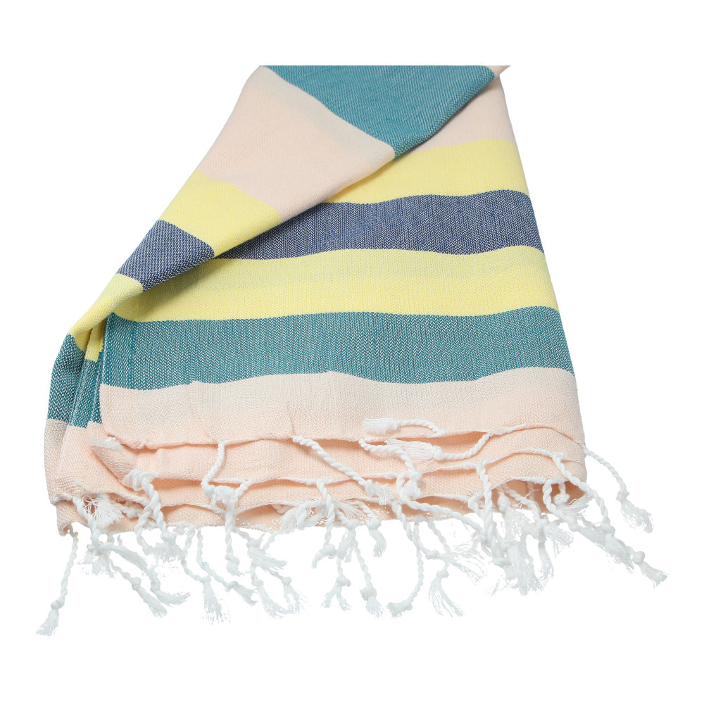 beige, yellow, turquoise hand-made cotton bath towel