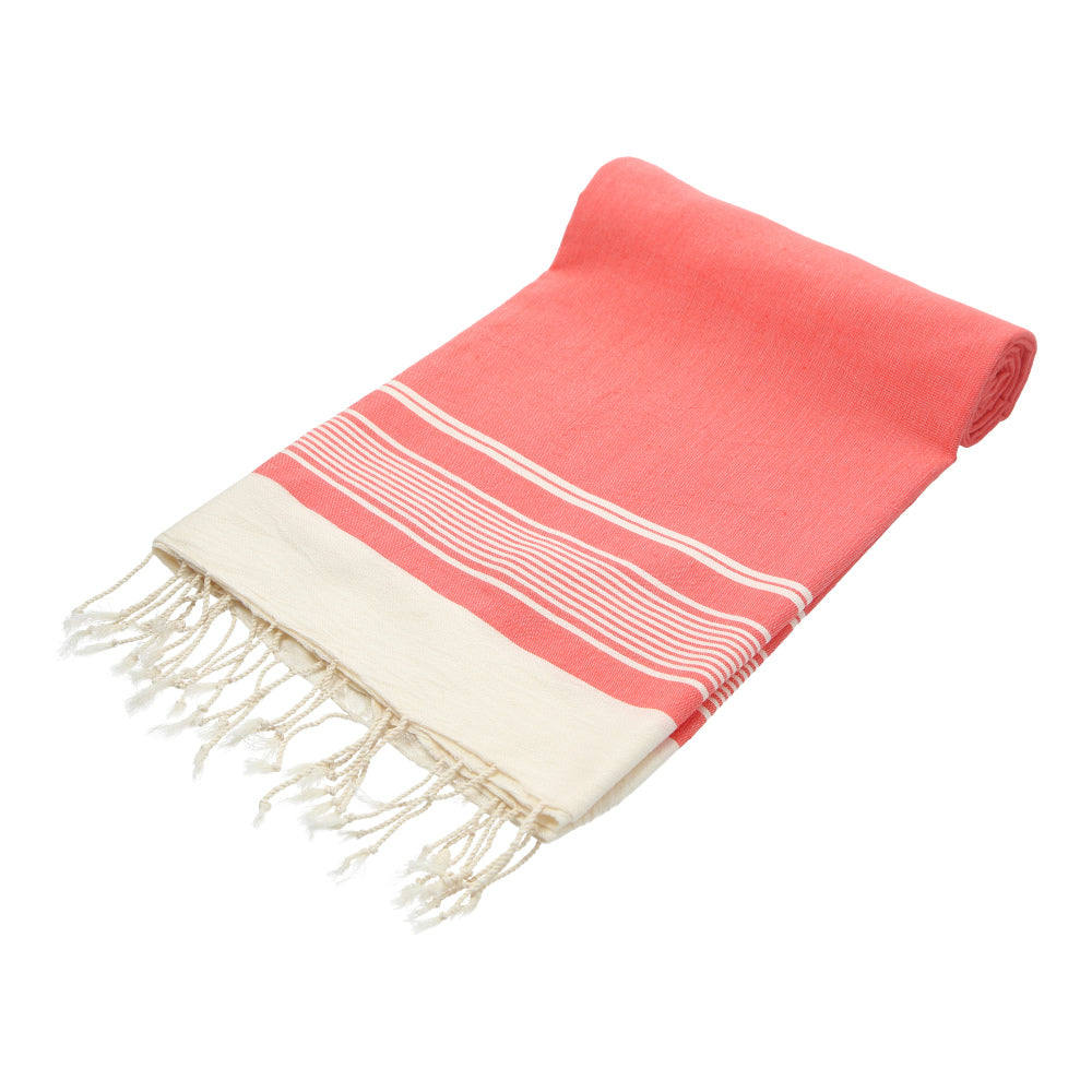 Pink traditonal hand-made bath towel