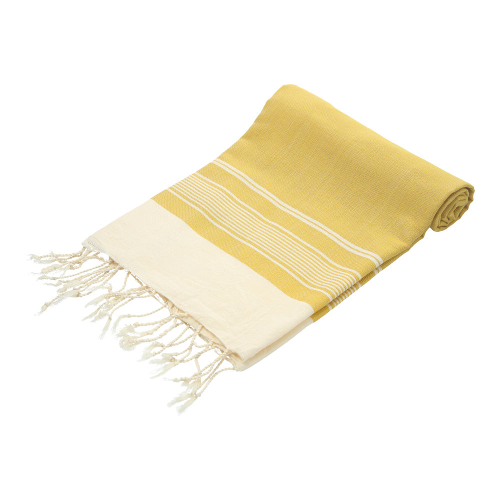 yellow (mustard) hand-made traditional bath towel