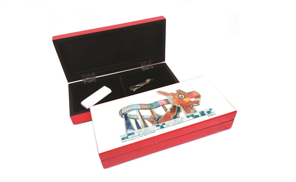 Lacquered Small Stationery box-Dragon Playground (red)