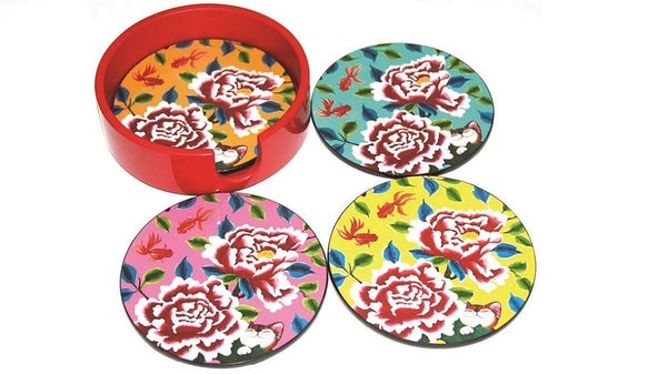 Lacquered Round Coaster, Set of 4- Sweet Pairings (red)