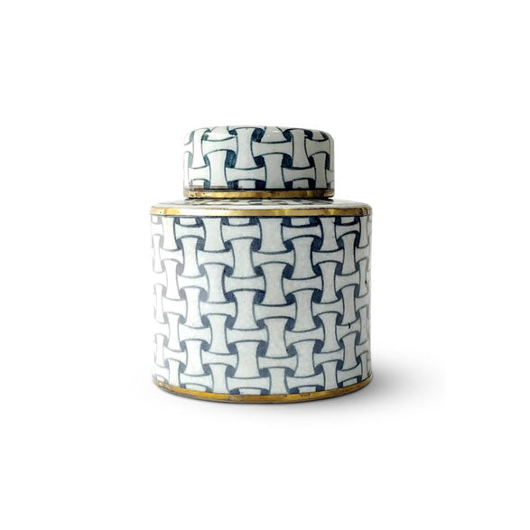 Weave Design Blue Jar