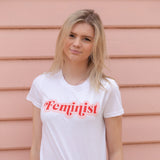 Feminist- Red and Pink on White