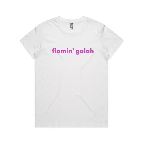 Flamin' Galah- Pink and Teal on White