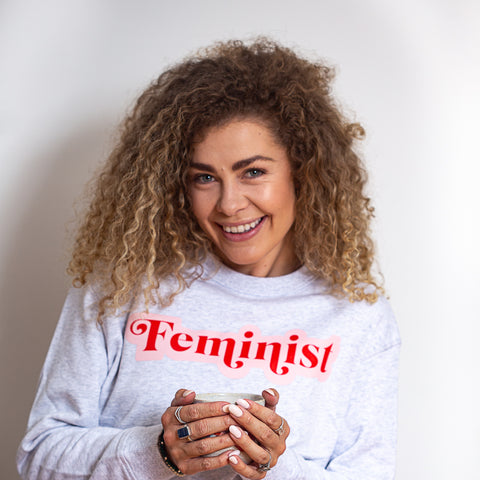 Feminist jumper - Red and Pink on Light Marle