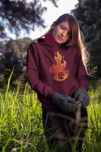 fire spirit hoodie maroon on model outdoors