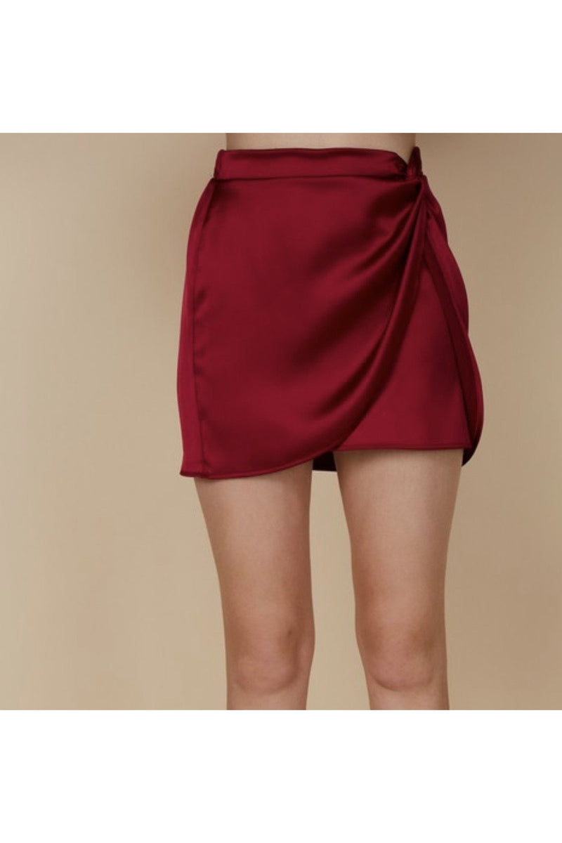 Jewel Satin Wrap Skirt in Red