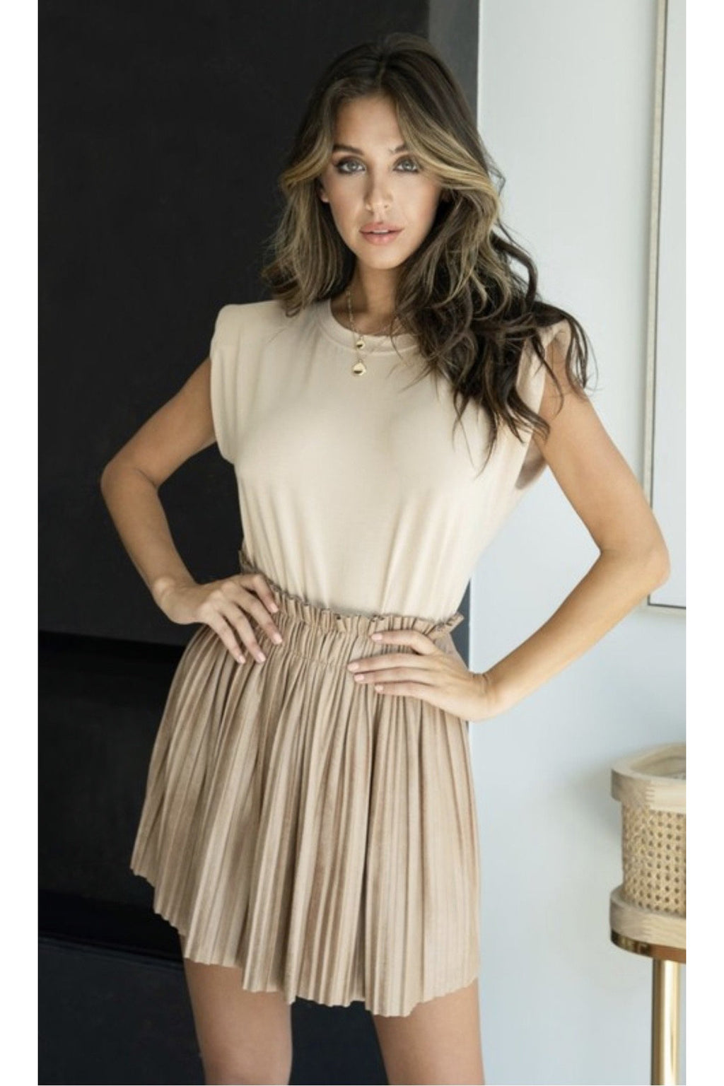 Serendipity Pleated Suede Mini Skirt $52
