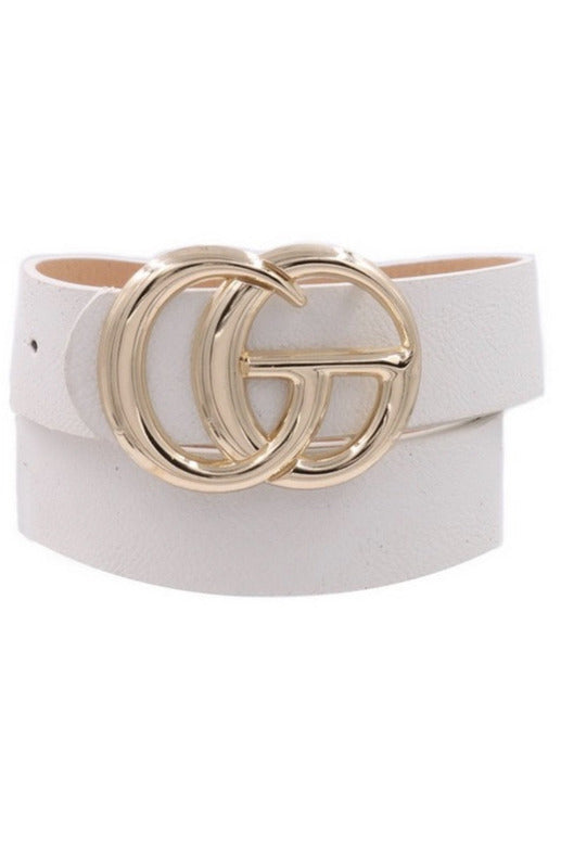 GG Belt in White/Shiny Gold