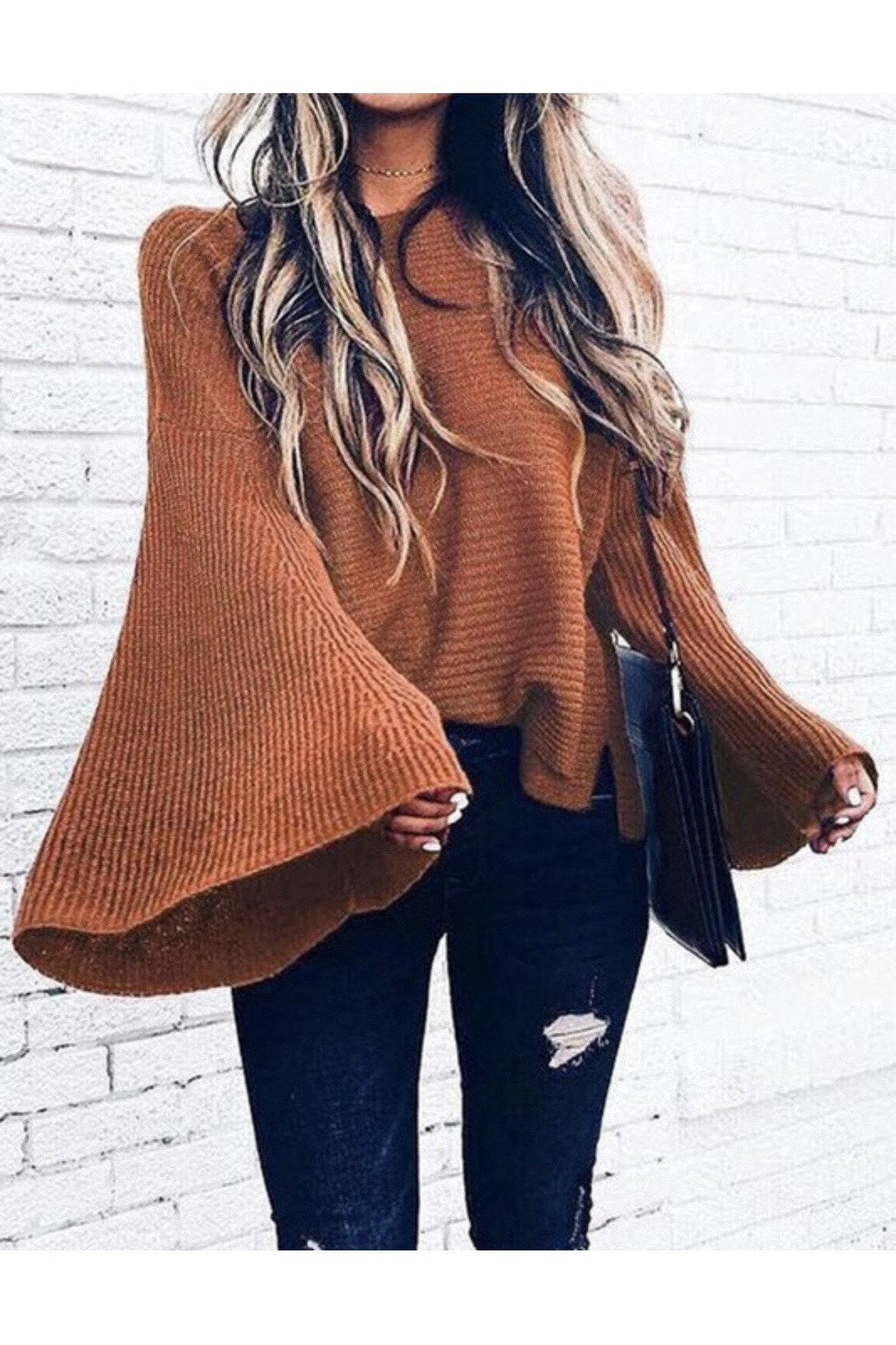 Amber Bell Sleeve Sweater in Caramel