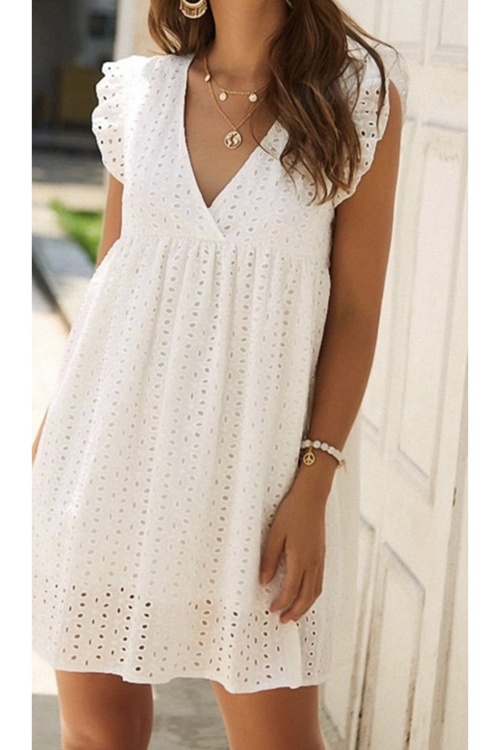 Emily Eyelet Dress in white
